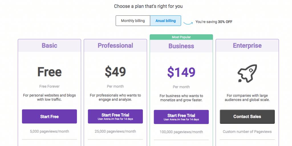 Pricing table liveblogging