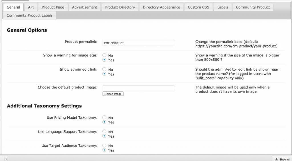 Product Directory Settings