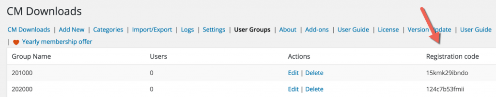 Registration code definition in CM Download Manager User Groups