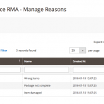 Admin managing reasons - RMA Requests Module