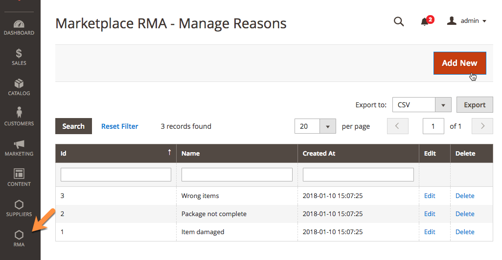 Admin RMA Reason Management