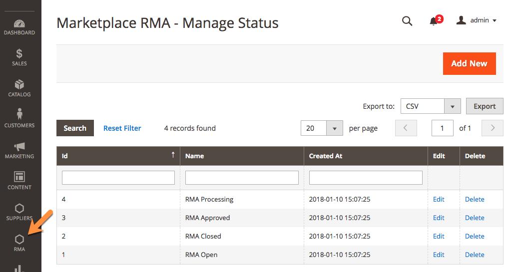 Admin RMA Status Management