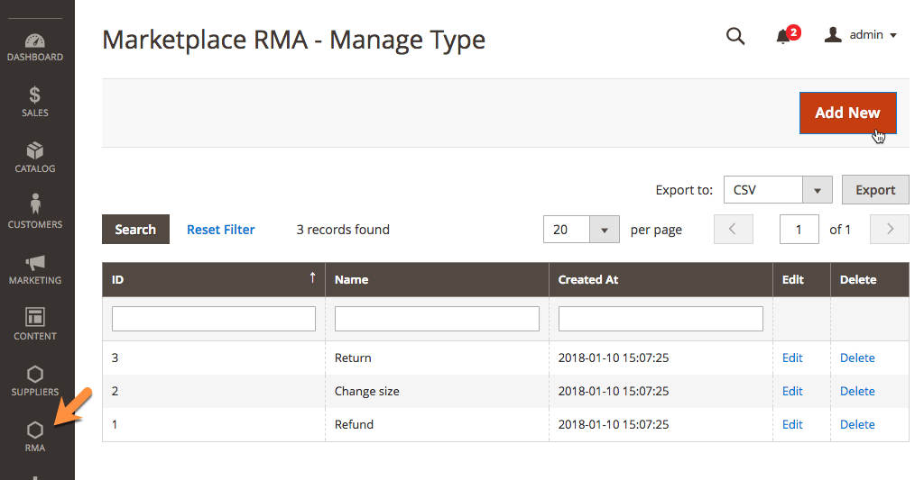 Admin RMA Type Management