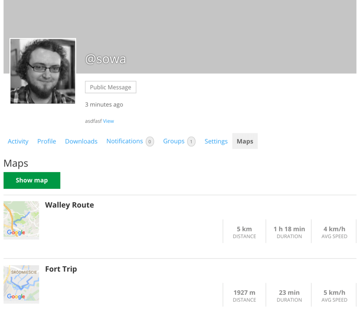 Profile page with posted routes