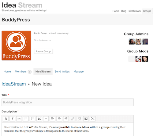 Adding a new idea in WP Idea Stream