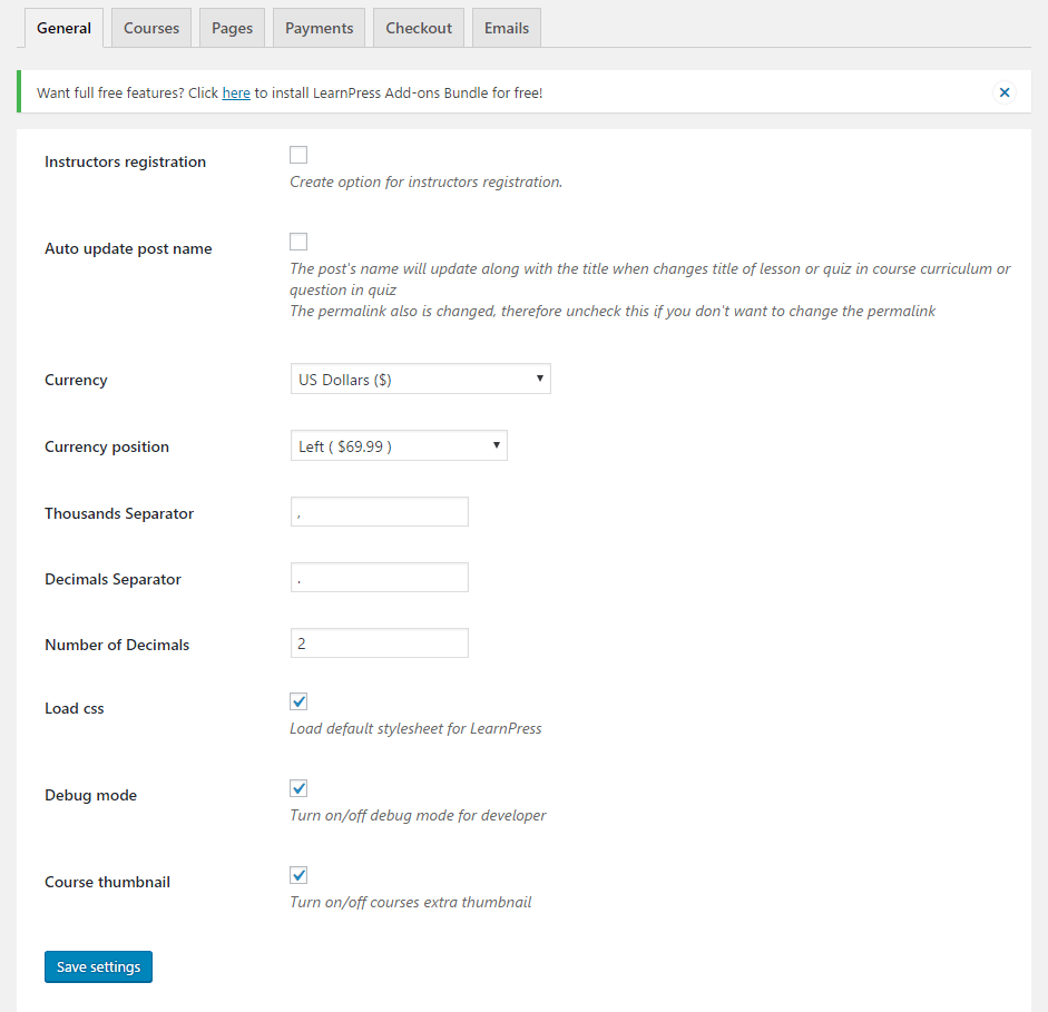 LearnPress screenshot - 10 WordPress Plugins for eLearning in 2020