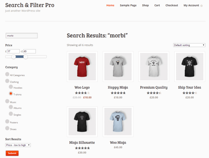 Search and Filter Pro used on an ecommerce site - Top 10 WordPress Search Plugins To Overhaul Searching