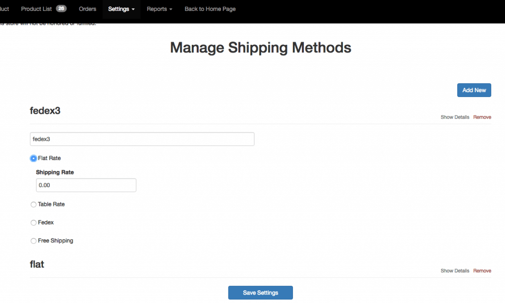Settings Shipping Method