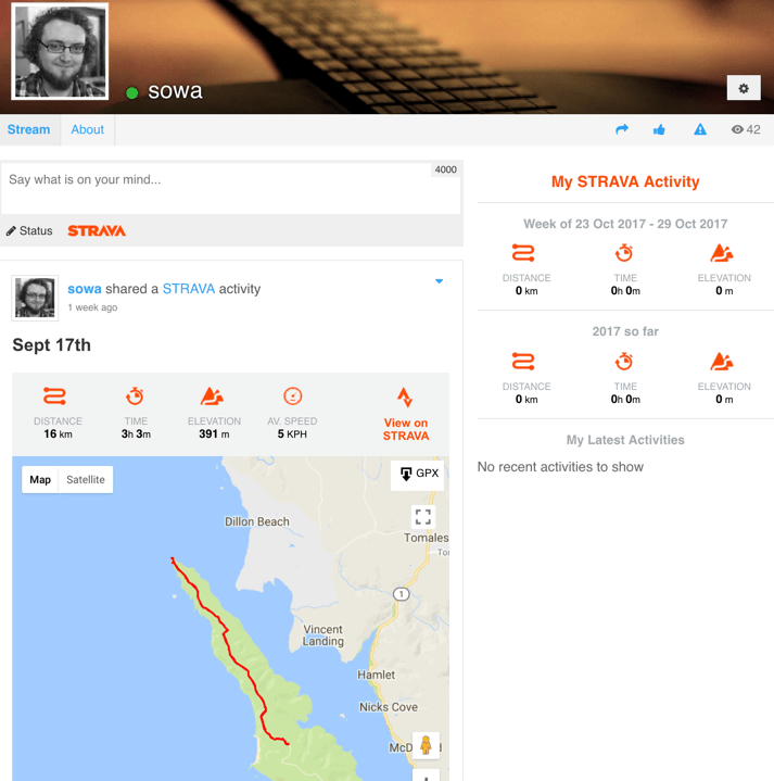 Strava Route in User Profile