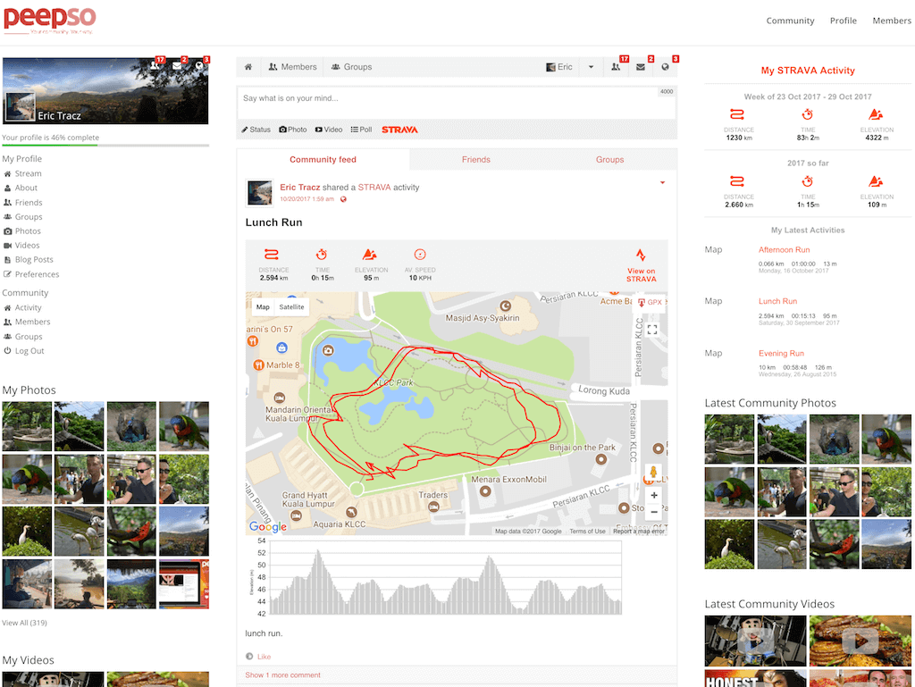 Showing a Strava post inside a PeepSo feed