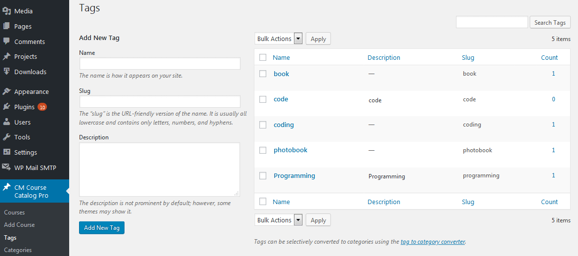 View Tags List in the Backend - Course Catalog Plugin Images