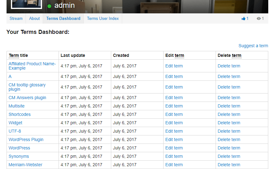 Glossary terms dashboard in user profile