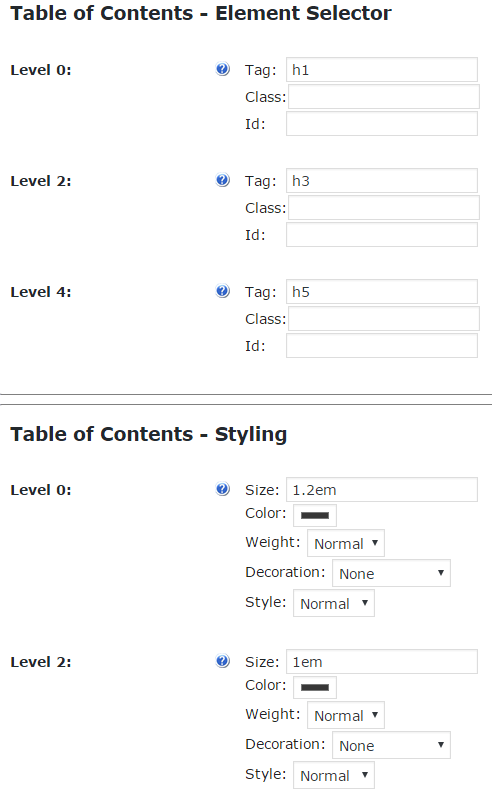 Settings section used to Define which Tags to Use for Generating the TOC and How to Style each Level