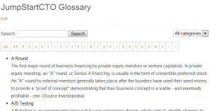 The glossary index page