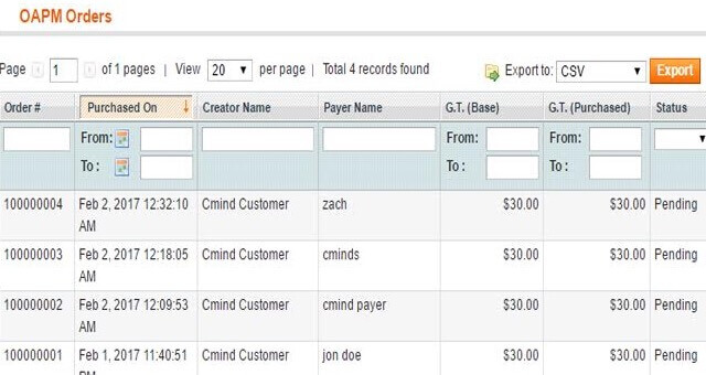 Admin dashboard showing pending orders.