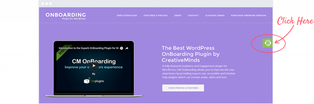 On Boarding Floating Widget before clicking - Step Up The UX With These Top OnBoarding Plugins for WordPress