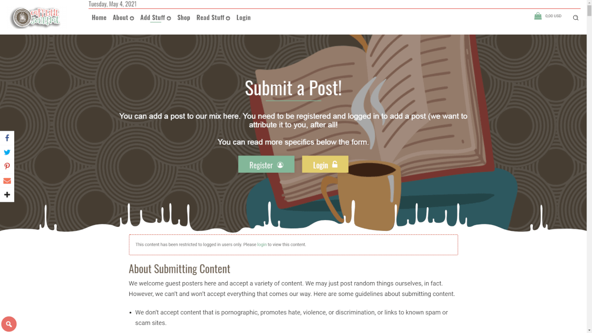 caffeinejournal.com (1) - User Submitted WordPress Plugin Example Sites