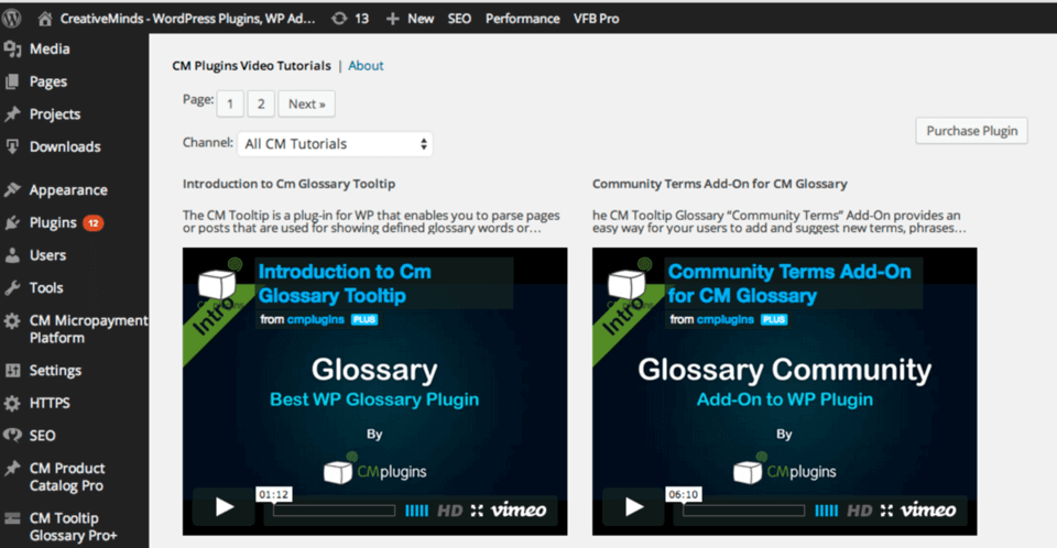 CM Video Tutorials for WordPress
