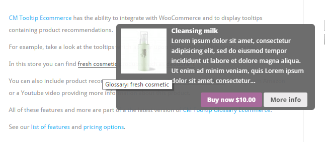 Tooltip integrated with WooCommerce Build Glossary WordPress - How to Build a Glossary in WordPress