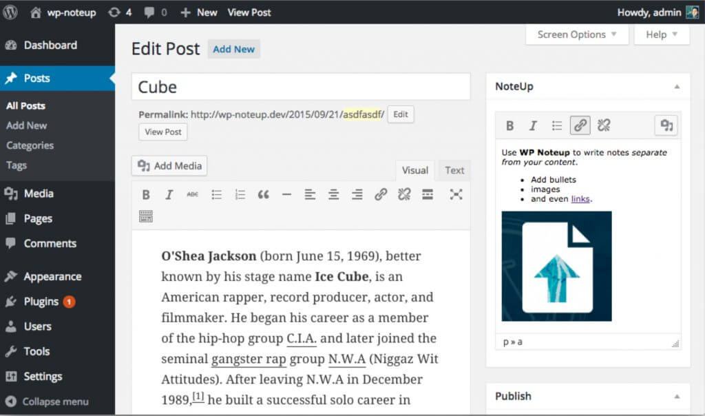 WP NoteUp screen - 5 Fantastic WordPress Footnotes Plugins